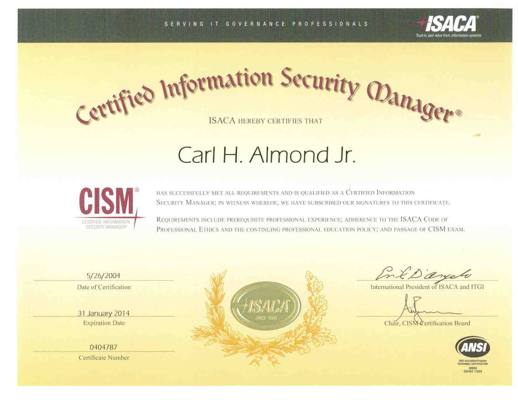 Resume of carl h almond jr certifications attained include cism cissp sscp ceh ticsa iam mcse mcpi mcp cna ccnp ccna ccdp ccda ccsa security network and i net xflitez Image collections